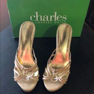 Size 10 Charles David camel leather wedges